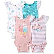 Gerber Baby Girls 4-Pack Sleeveless Onesies Bodysuit, Icecream Newborn