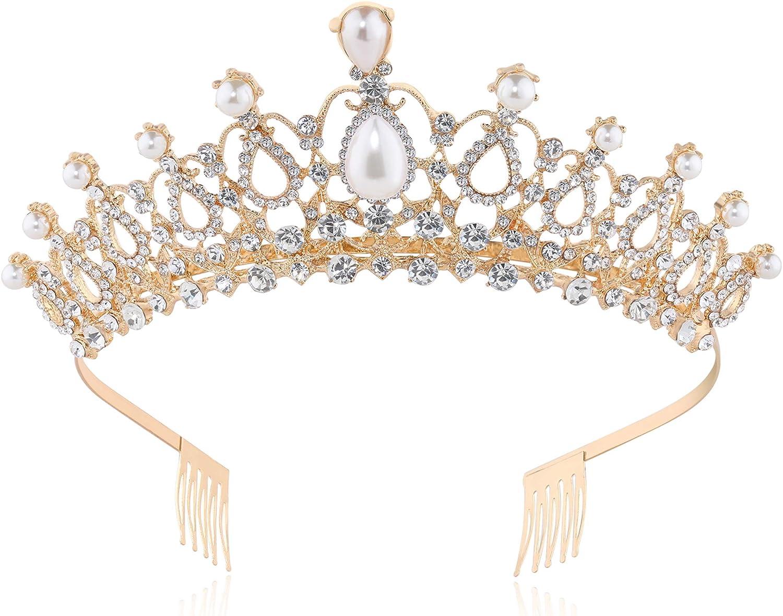 Avec cristaux et strass Style vintage Coucoland Diad/ème de mari/ée pour mari/ée Couronne de mariage Style vintage