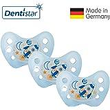 Dentistar® Night Silikon-Schnuller - Größe 1, von Geburt an, 0-6 Monate – Nacht-Leuchtschnuller, Nuckel leuchtend, für neugeborene Babys   Sterne Edition