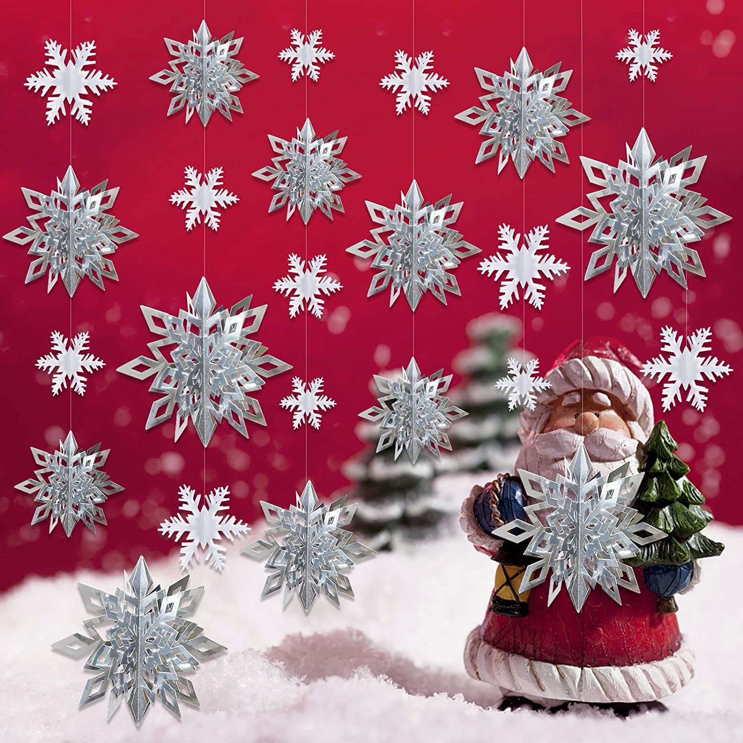Christmas Hanging Snowflake Decorations - 12PCS Large 3D Silver Snowflakes & 12PCS White Snowflakes Hanging Garland for Winter Christmas Holiday New Year Party Home Decor