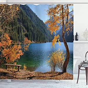 Ambesonne Farm House Decor Shower Curtain Set, Autumn Season by Lake and Mountain Asian Nature Theme Fall Trees in The Wilderness, Bathroom Accessories, 75 Inches Long, Orange Green
