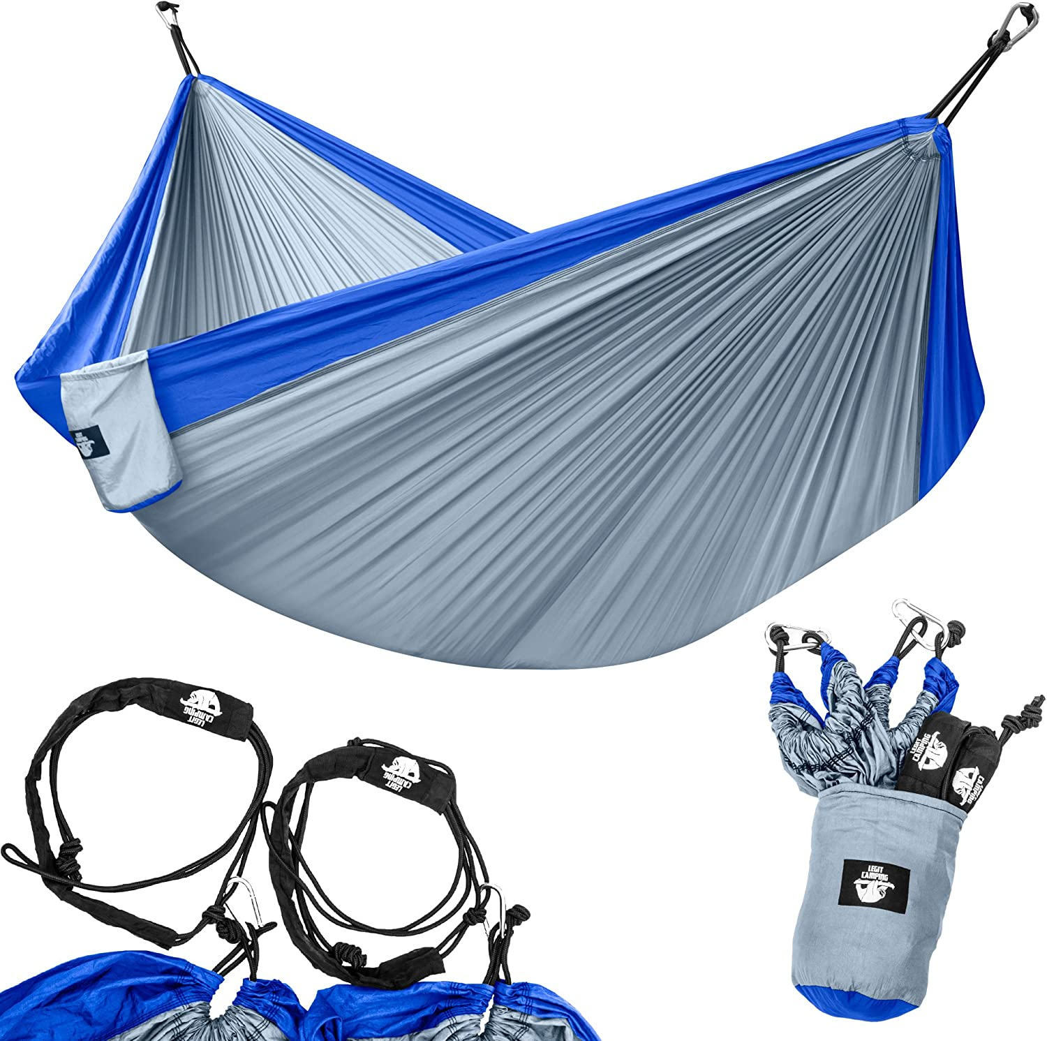 Legit Camping Portable Double Hammock - Blue/Grey - 400 lb Weight Capacity