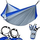 Legit Camping - Double Hammock - Lightweight Parachute Portable Hammocks for Hiking , Travel , Backpacking , Beach , Yard . Gear Includes Nylon Straps & Steel Carabiners