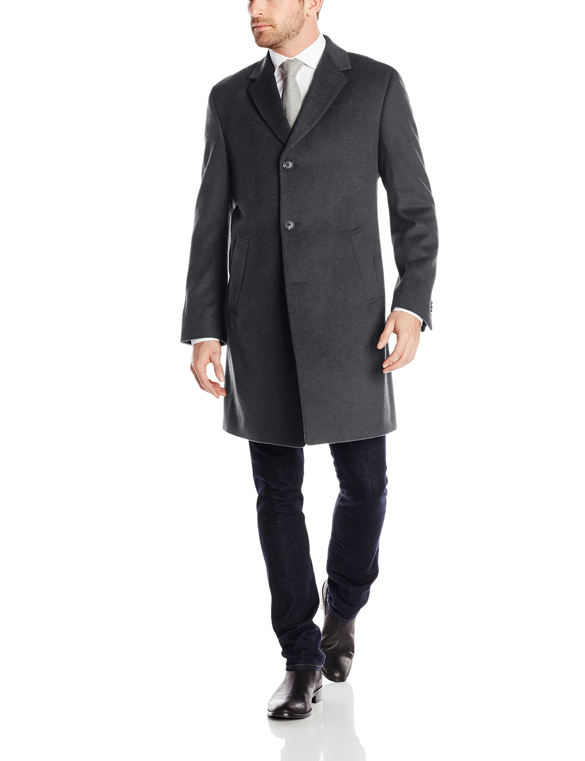 Kenneth Cole REACTION Men's Raburn Wool Top Coat, Charcoal, 40 Short