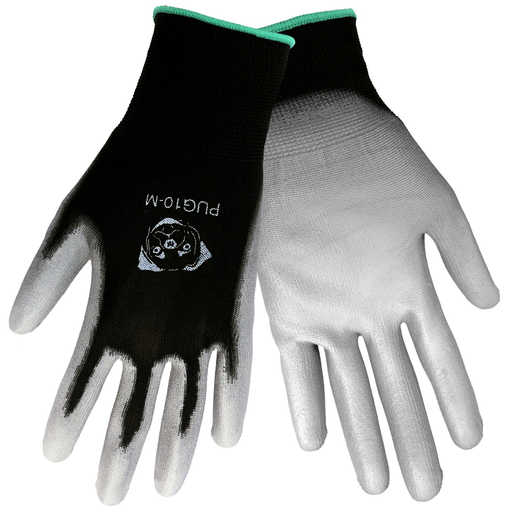 Global Glove PUG10 Economy Grade Polyurethane/Polyester Glove, Work, Large, Gray/Black (Case of 144)