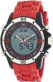U.S. Polo Assn. 运动男式 US9534 模拟数字手表红色橡胶表带