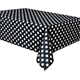 "Polka Dot Plastic Tablecloth, 108"" x 54"", Black"