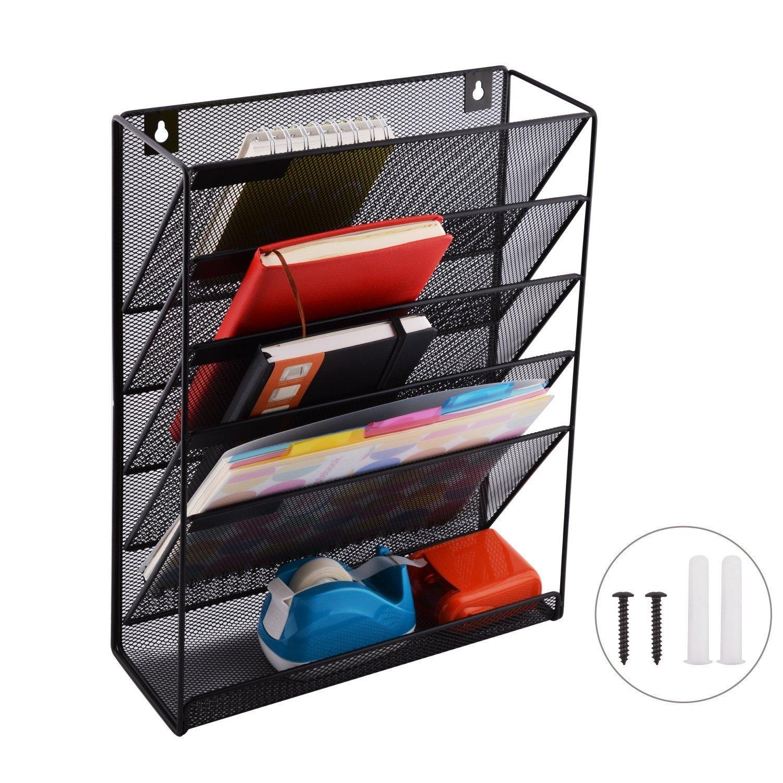 Organizador de archivos de 5 bandejas, organizador de correo, organizador de malla de metal, para colgar en la pared, organizador de oficina en casa con 10 ...