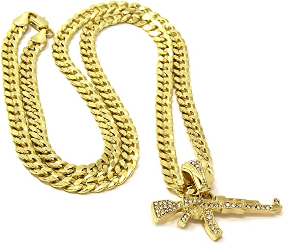 """Mens Large 3 Layer Cross Gold Iced Out Pendant 30/"""" Inch Necklace Cuban Chain"""