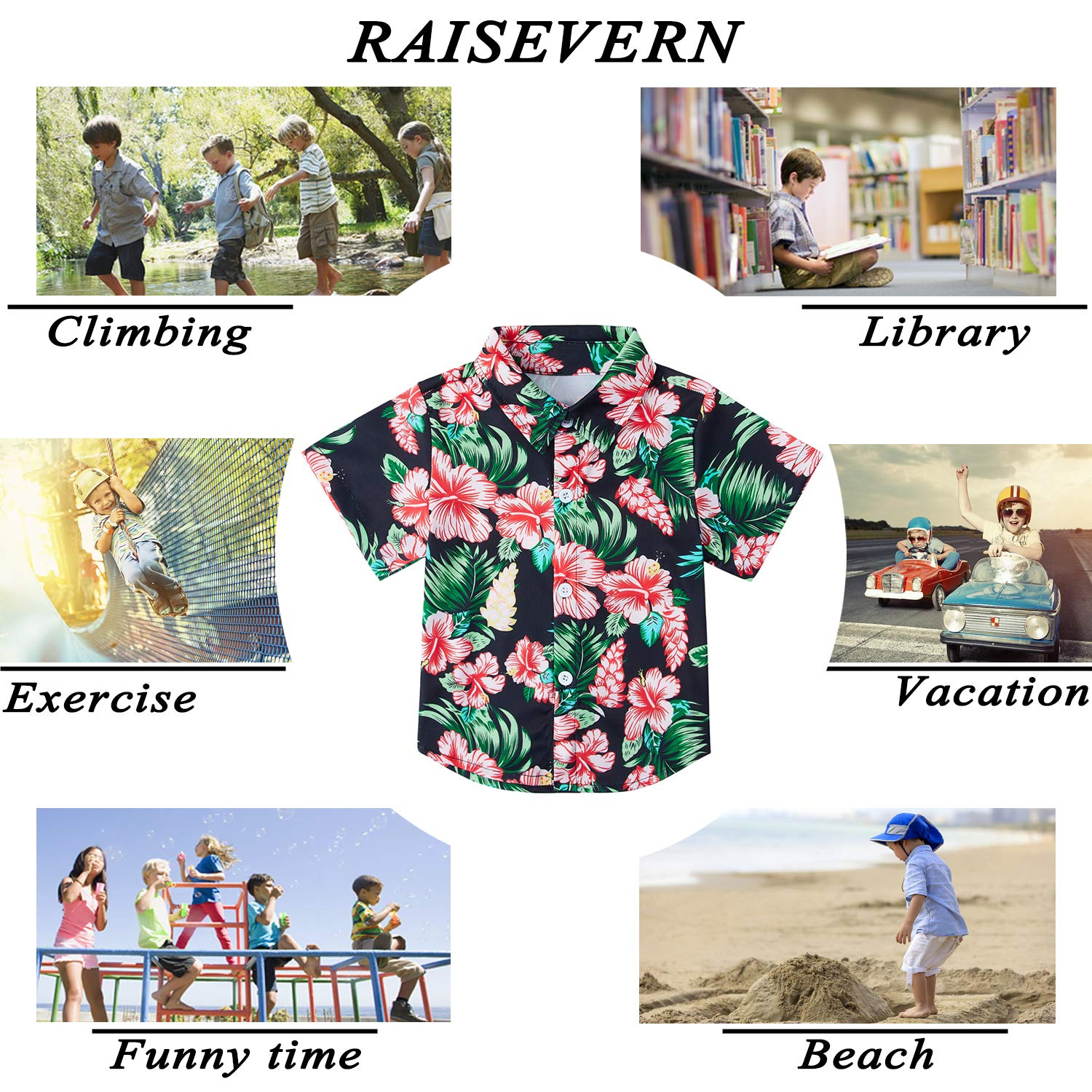 RAISEVERN Boys Button Down Shirts Hawaiian Cartoon Print Slim-Fit Short Sleeve Cool Dress Shirt Cute Top for Kids 2-14T