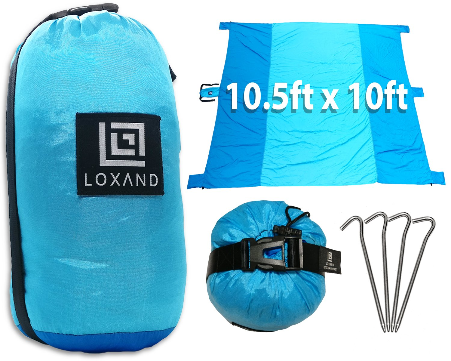 loxand Large Beach Blanket/アウトドアブランケット – 大きな10.5 ' X 10 ' – Perfect forビーチ、旅行、ピクニック、キャンプ、祭 – Sand Proof、丈夫、コンパクト、洗濯可能+ 5 Sandポケット& 4メタルStakes B075HLZW9Q