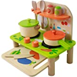 Kids Kitchen Toy Toddler Play Kitchen Playset for Kids - Toy Kitchen Set - Wooden Kitchen Playset with Kitchen Accessories for Pretend Play including Pans; Toddler Pretend Kitchen Playset; Wooden Toy for Toddlers Role Play Set for Children; Wooden Play Kitchen