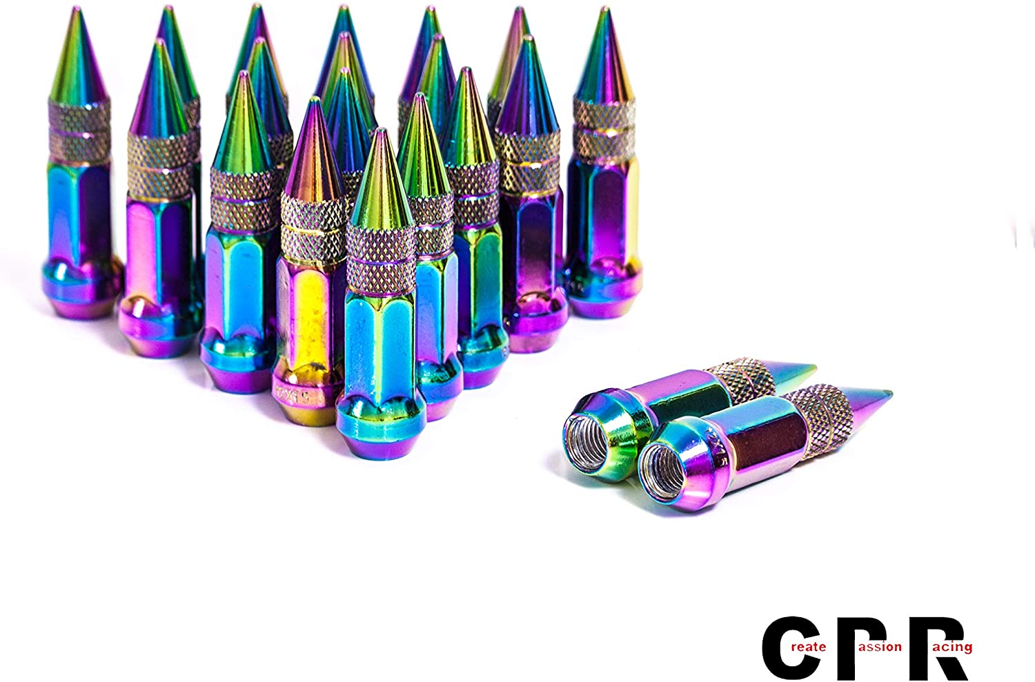 CPR CLOSE ENDED STEEL 17HEX SPIKED WHEEL RACING LUG NUTS NEO CHROME12X1.25 KEY