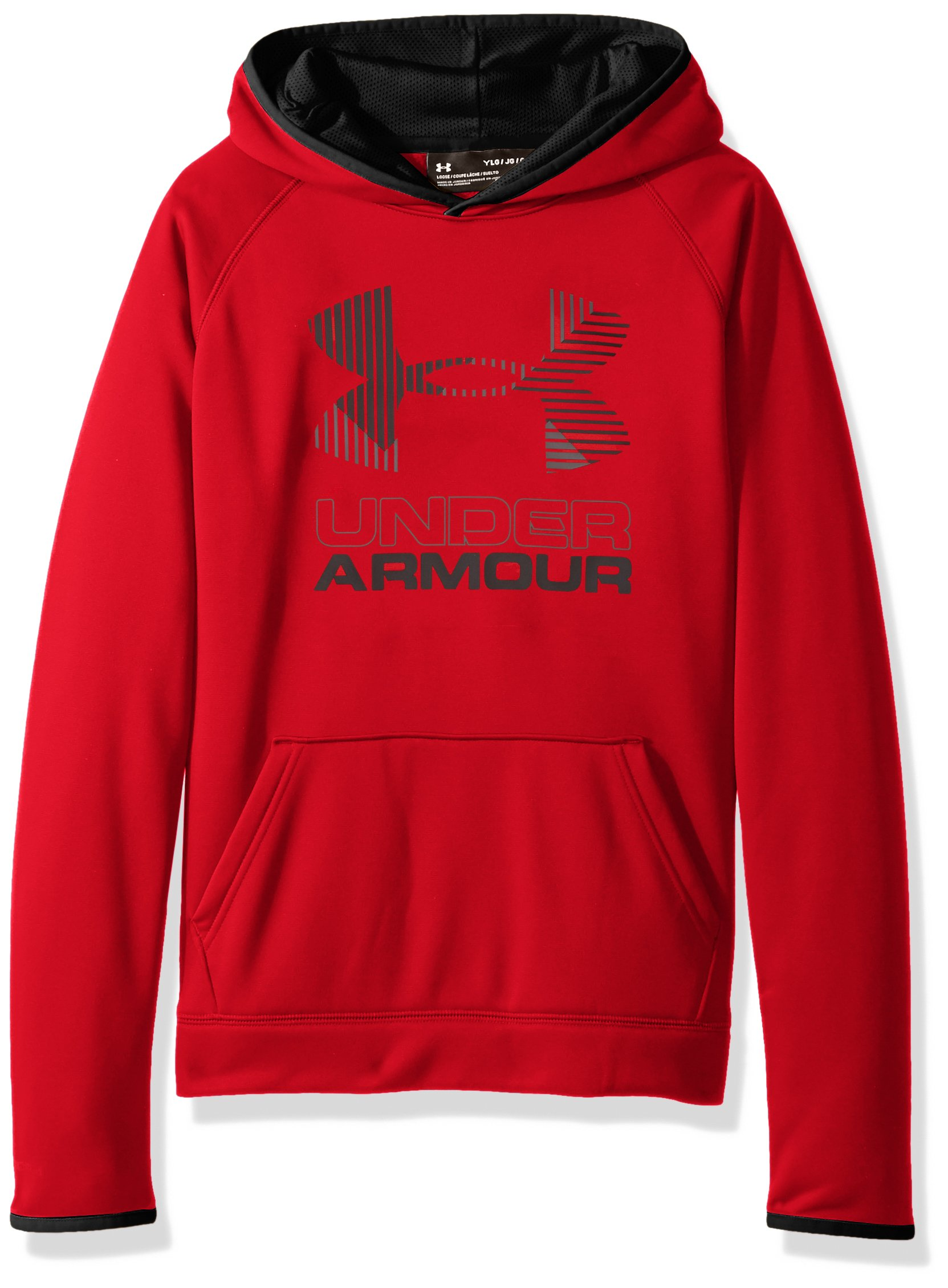 Under Armour Boys' Armour Fleece Solid Big Logo Hoodie, Red /Graphite, Youth X-Large by Under Armour