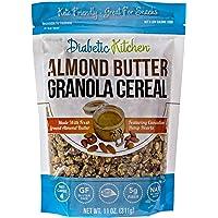 Diabetic Kitchen Almond Butter Keto Granola Cereal - 4g Net Carbs, No Sugar Added, Keto Friendly, Low Carb, Gluten-Free, High Fiber, Non-GMO, No Artificial Sweeteners or Sugar Alcohols Ever (11 oz)