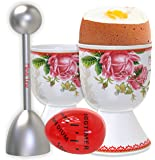 Boiled Eggs Premium Set – 2 Boiled Eggs Holders, 1 Egg Topper Cutter, a Boil Egg Timer, and 2 Spoons - Easy to Use and Precise – Suitable as Family Easter Gifts, Mom Gift, or Gifts for Kitchen