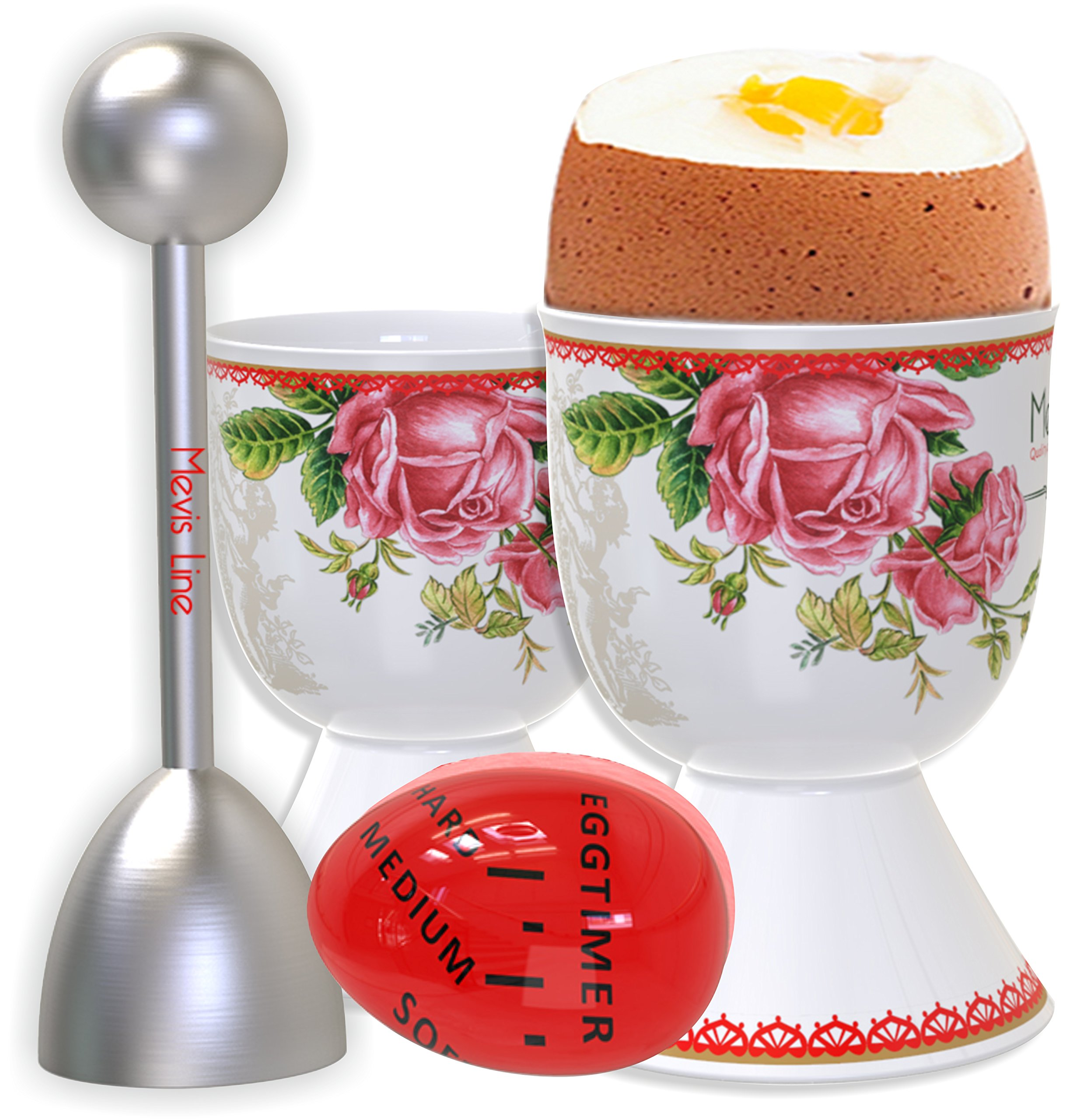 MEVIS Line - Set for 4 Person Boiled Egg Kit 2 Egg Cups With Spoons, 1 Egg Timer, and 1 Topper Cracker, Easy to Use Breakfast Set for Egg Lovers by MEVIS LINE (Image #1)