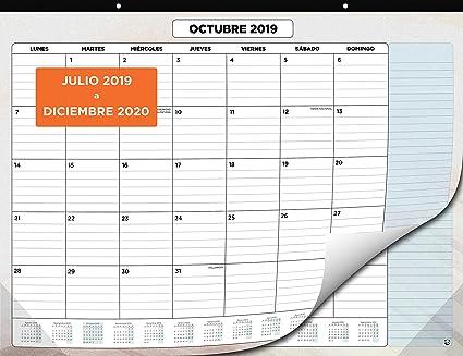 Calendario de Pared 2019-2020 de SmartPanda – Calendario Mensual de Sobremesa – Julio 2019 a Diciembre de 2020 – Vista de un Mes – 33 cm x 43 cm