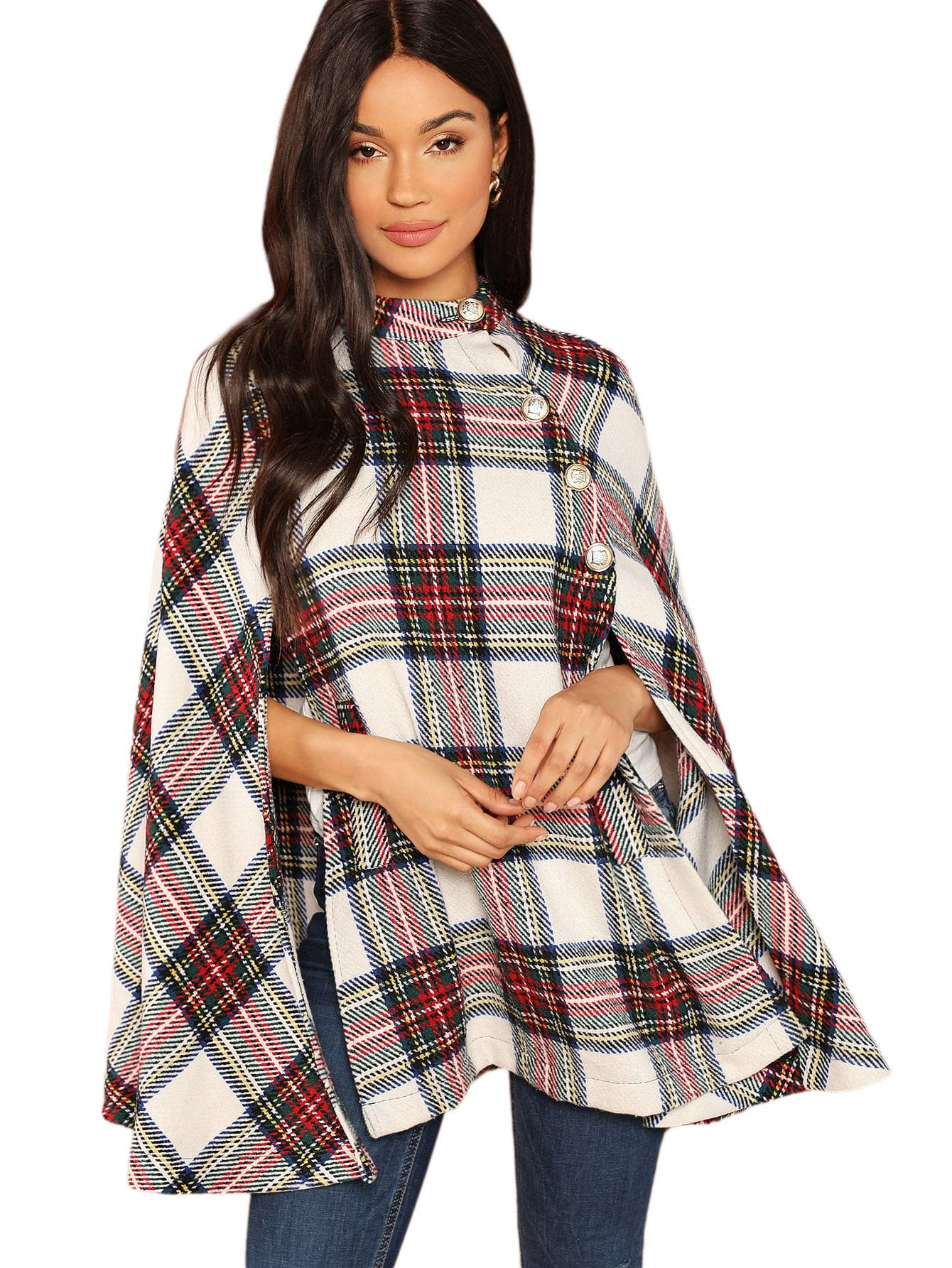 MAKEMECHIC Women's Button Front Cloak Sleeve Elegant Cape Mock Poncho Classy Plaid Print Cape Coat Multicolor-1 M by MAKEMECHIC