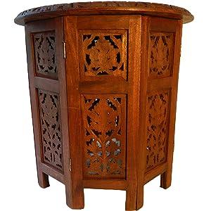 Mesa auxiliar dos partes octogonal 31 cm madera de mango tallas mesita mueble