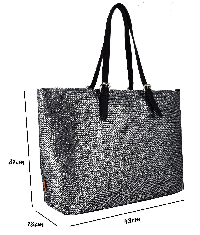 6b975fb74 ... Women's Straw Top Handle Shoulder Handbags Tote Purse - Large Size Long  Handle Bag - Braids Woven Metallic Leather Big Satchel Lady Girl School Work  ...