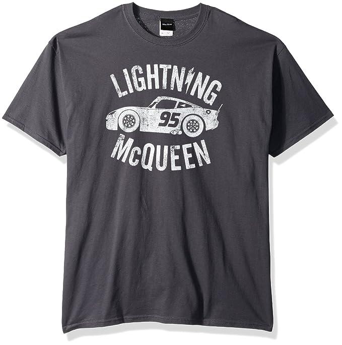 d5224bec0 Disney Men's Cars 3 Lightning McQueen Graphic T-Shirt, Charcoal, Small