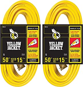 2-Pack - Yellow Jacket 12/3 Heavy-Duty 15-Amp SJTW Contractor Extension Cord with Lighted Ends, 50-Feet
