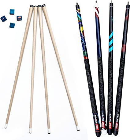 Amazon Com Prosniper Pool Cues Set Of 4 Pool Cue Sticks Made Of Canadian Maple Wood Extra 4 Pool Chalk Included Unique Design And Durable Cue Stick For Professional