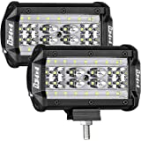 DJI 4X4 LED Pods, 2Pcs 5'' 168W Quad Row LED Light Bar OSRAM Spot Flood Combo Beam Off Road LED Cubes Work Light Driving Fog Lamps for Trucks Jeep ATV UTV SUV Boat Marine, 2 Years Warranty