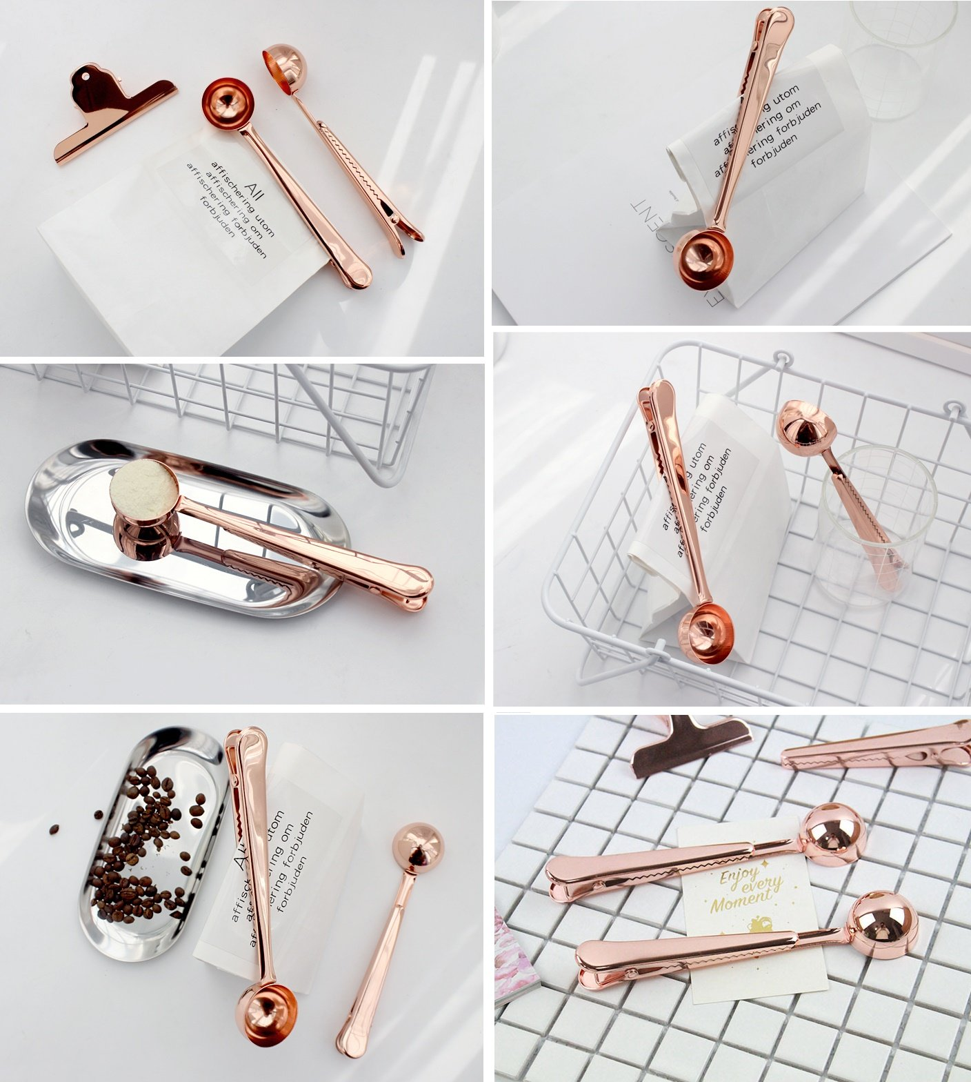 Coffee Measuring Spoon Sealing Clips, Two-in-one Long Handle Metal Scoops Bag Clips from Hoocozi, 2Pcs, Rose Gold, 1 Teaspoon