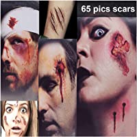 Zombie Makeup Tattoos, Halloween Scar Tattoo, Zombie Makeup Kit, 3(Large)+5(Small) Pack Vampire Bite Tattoo, Fake Scar makeup,Halloween Makeup Kit,Waterproof fake blood tattoo, Safe Makeup for Kids
