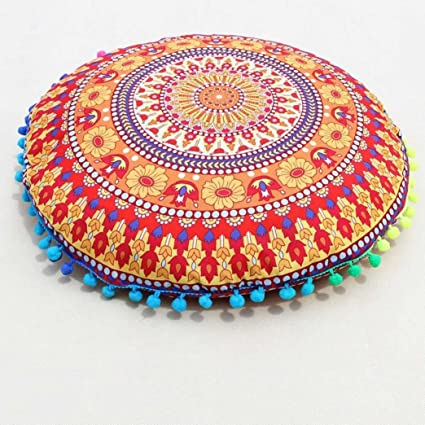 Careful Indian Vintage Blue Round Floor Cushion Cover Pillow Throw Bohemian Decor Ottomans, Footstools & Poufs Furniture