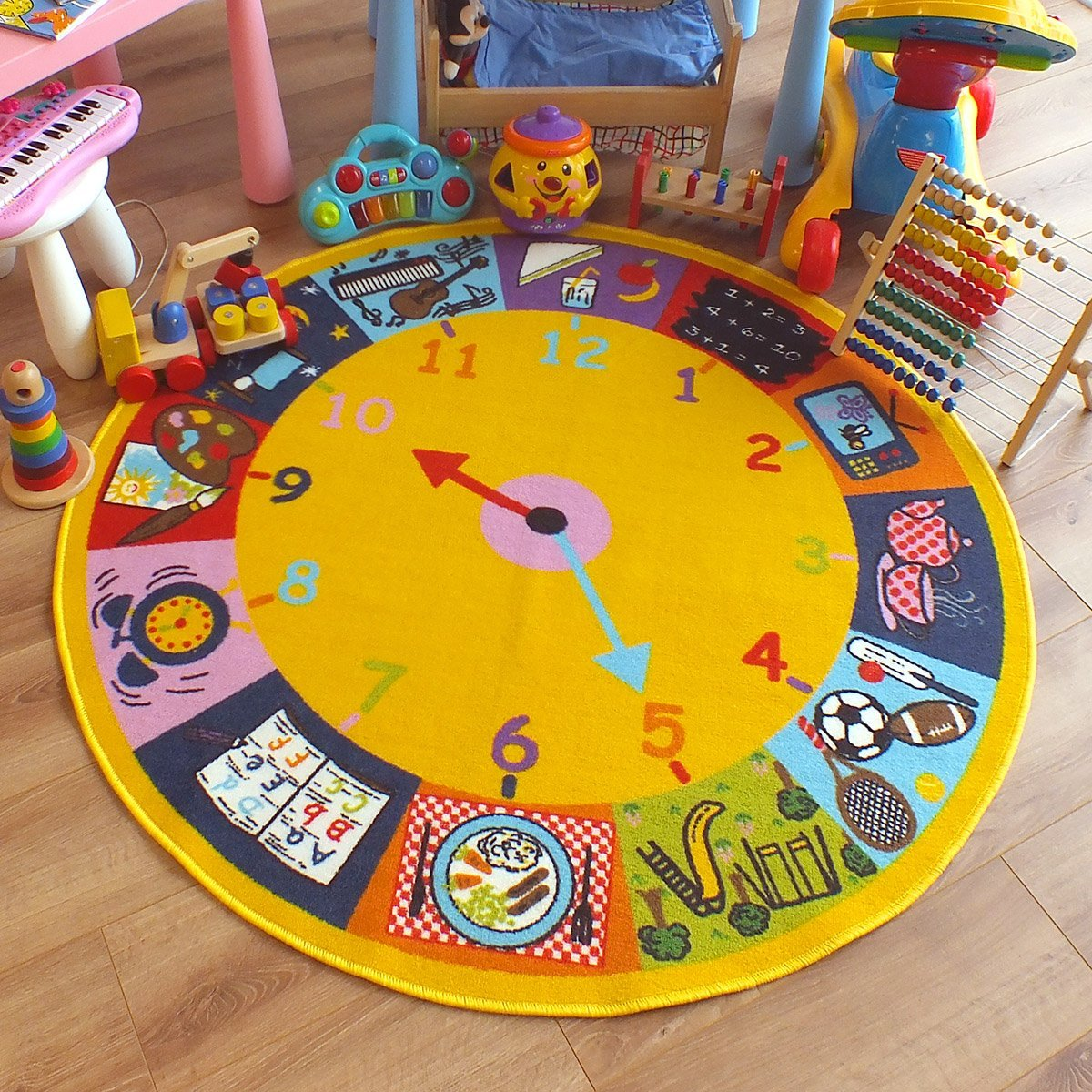 Superb Kids Childs Rug Clock Design Large Round 133m X 4