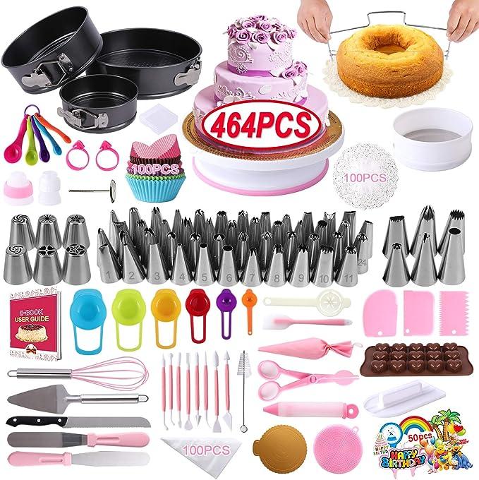 Cake Decorating Supplies 2021 Upgrade 366 PCS Baking Set with Springform Cake