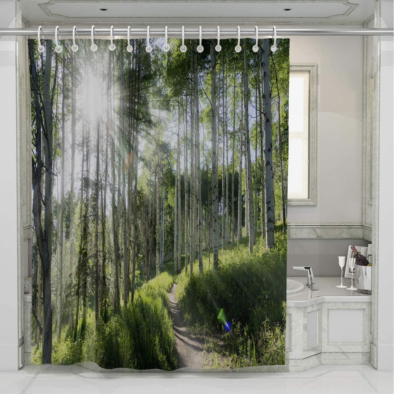 BEISISS Mountain Shower Curtain,Beautiful Mountain Hiking Trail Through Aspen Trees of Vail Colorado,Photo Art Fabric Bathroom Decor Set with Hooks,78Wx72L