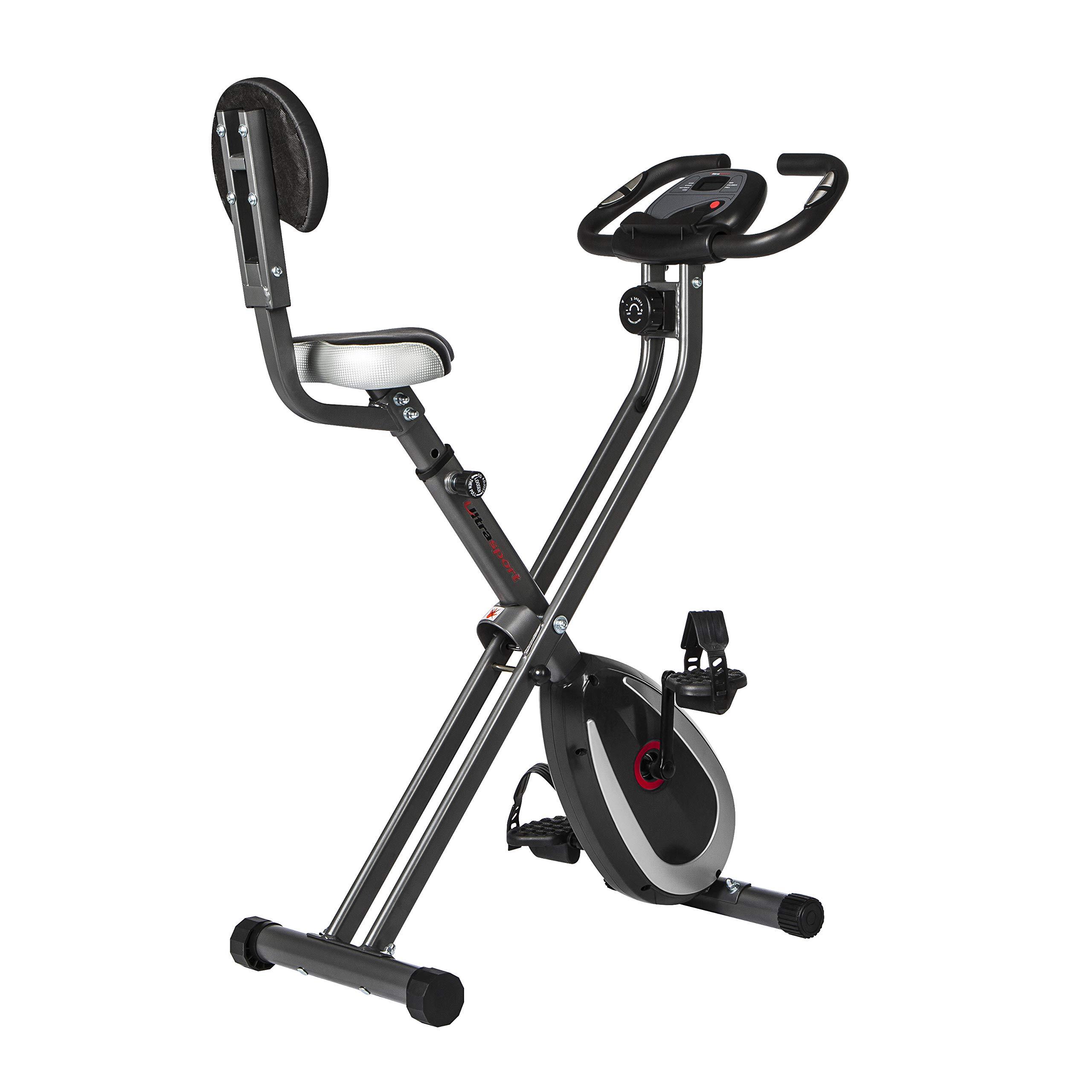 Ultrasport F-Bike 300B bicicleta estática plegable con respaldo, ordenador y App, Gris
