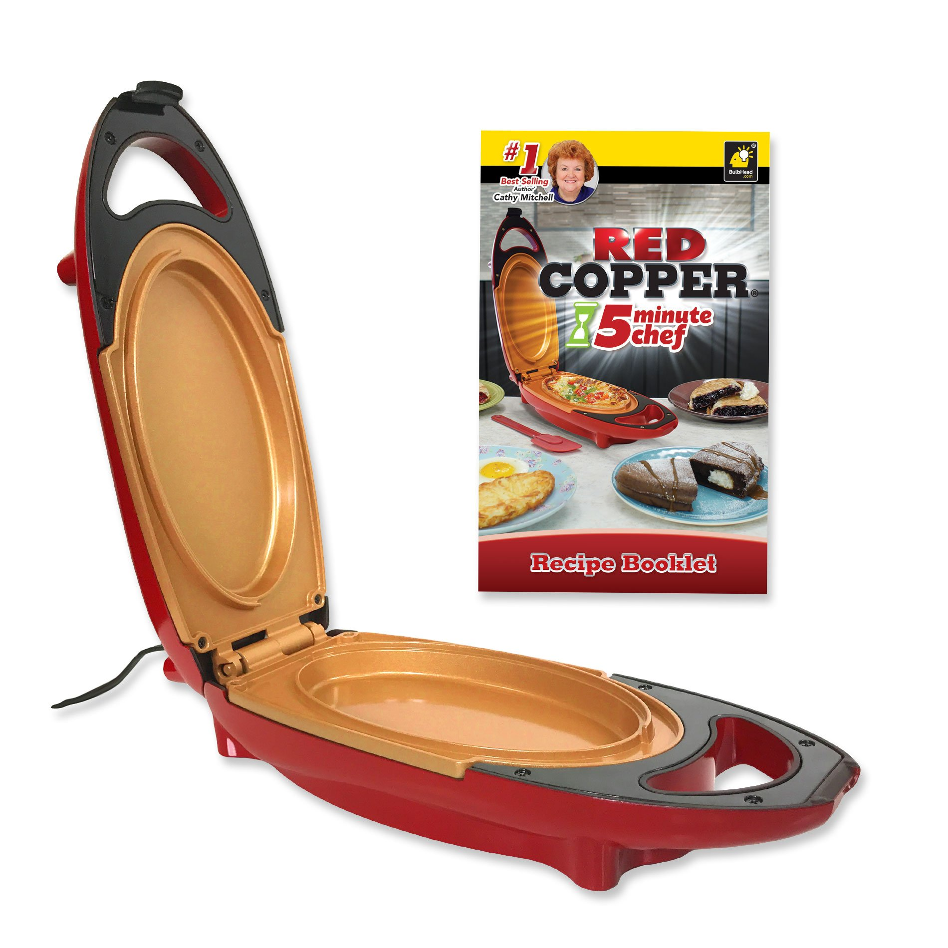 Red Copper 5 Minute Chef by BulbHead Includes Recipe Guide