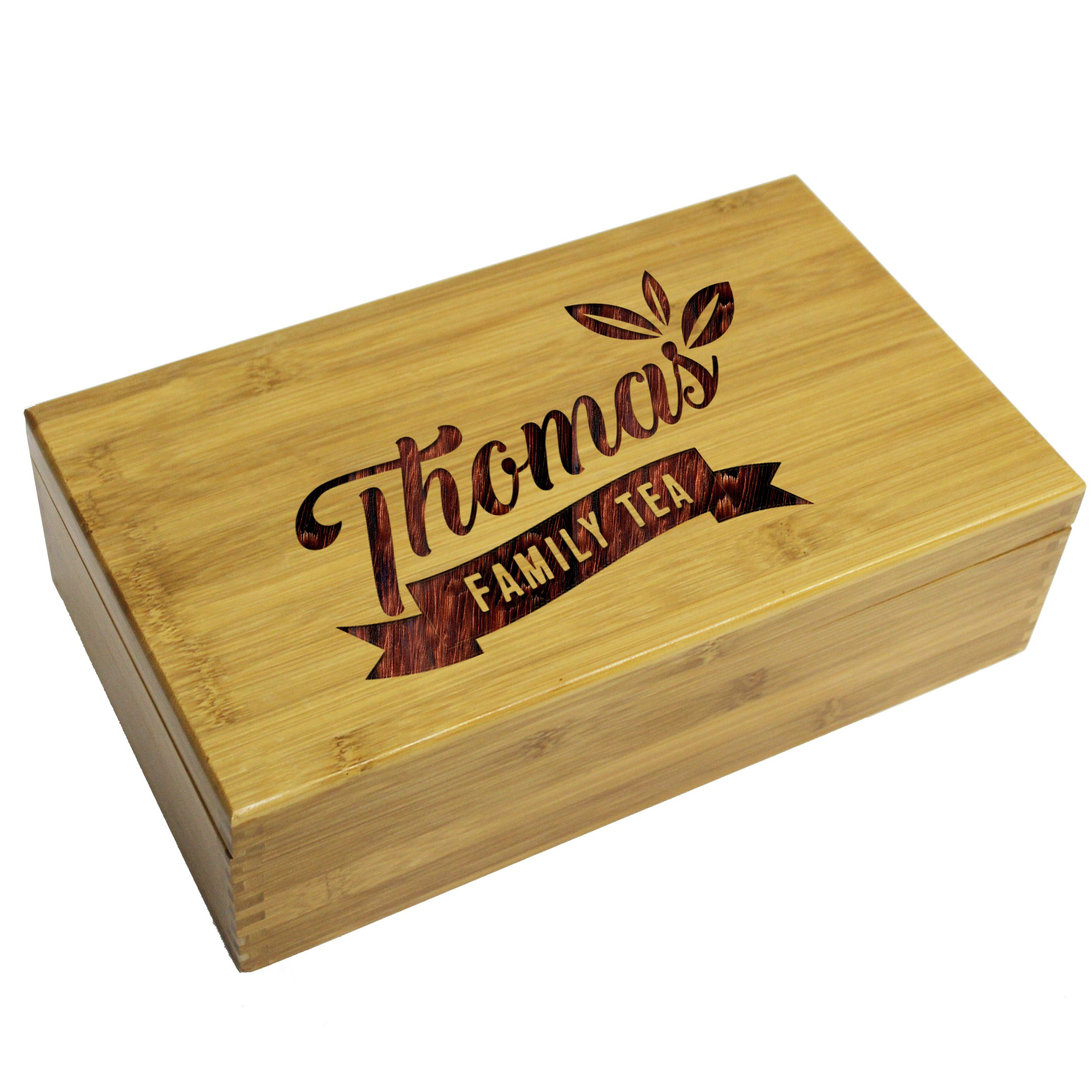 Personalized Wooden Tea Box Storage Organizer Caddy and Tea Bag Holder, Engraved Gift for Housewarming, Kitchen, Mom, Grandma or Family