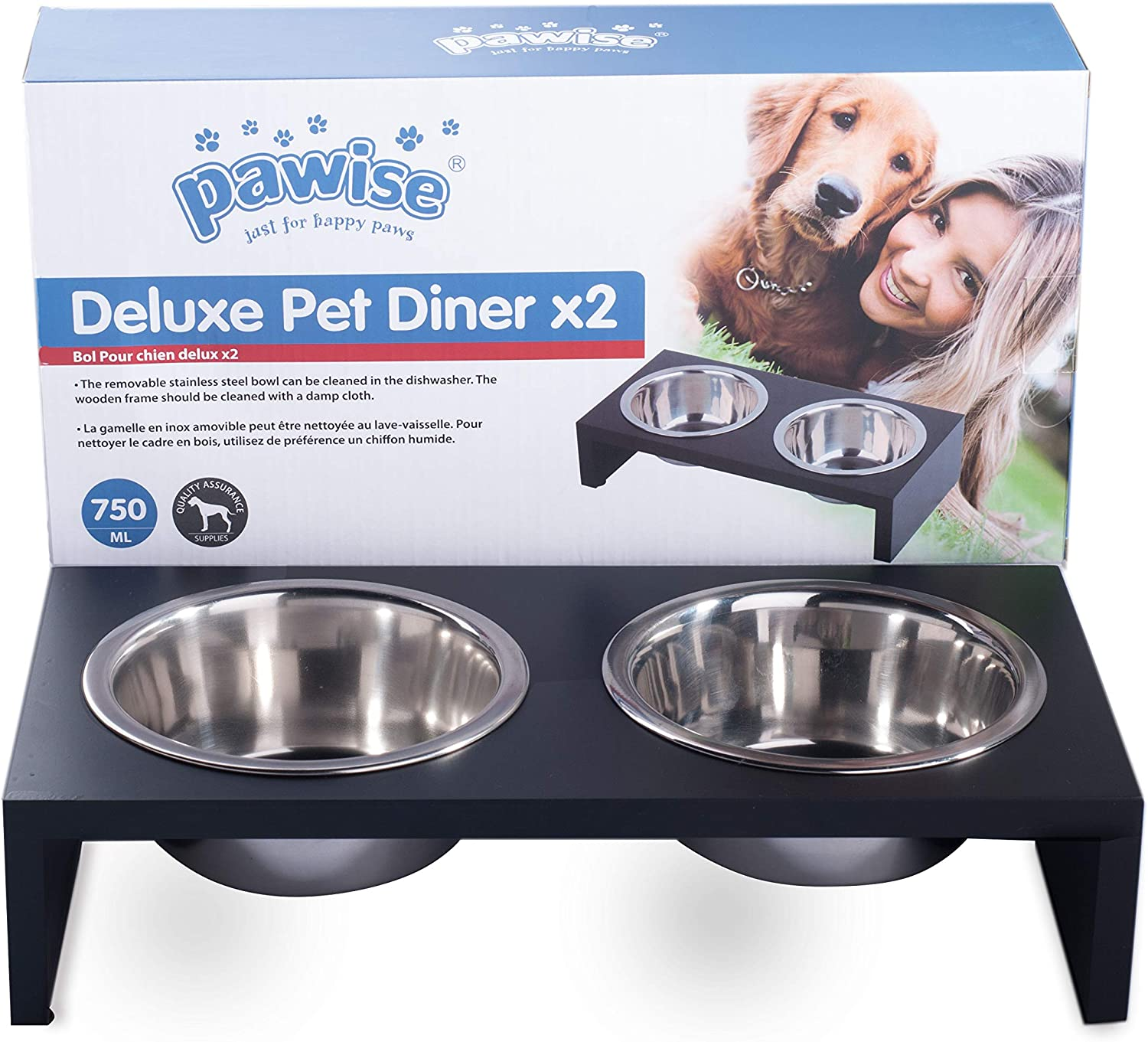 PAWISE Elevated Pet Feeder, Raised Dog Feeder Stainless Steel Bowl with Wooden Frame