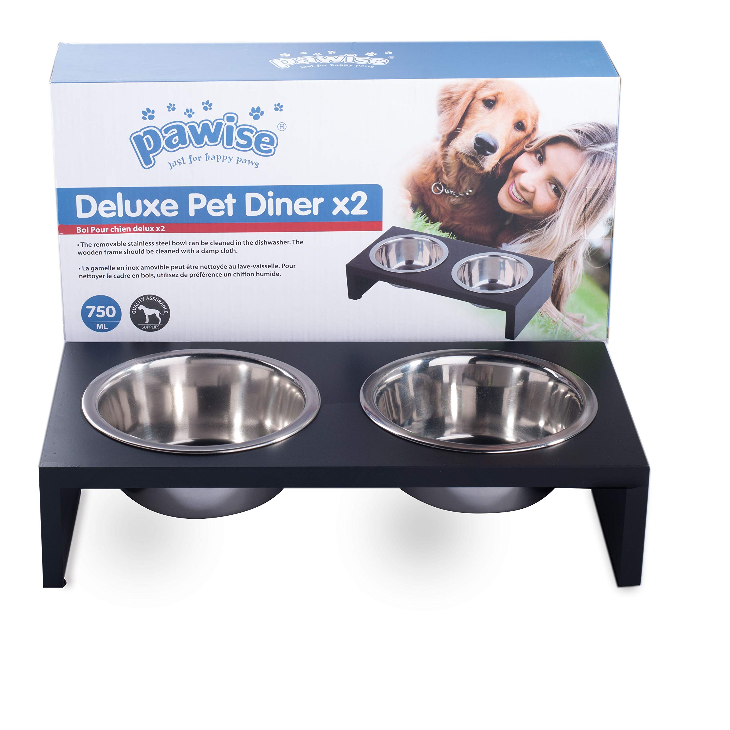 PAWISE Elevated Dog Bowl Raised Dog Feeder Stainless Steel Bowl Wooden Frame 750ml by PAWISE