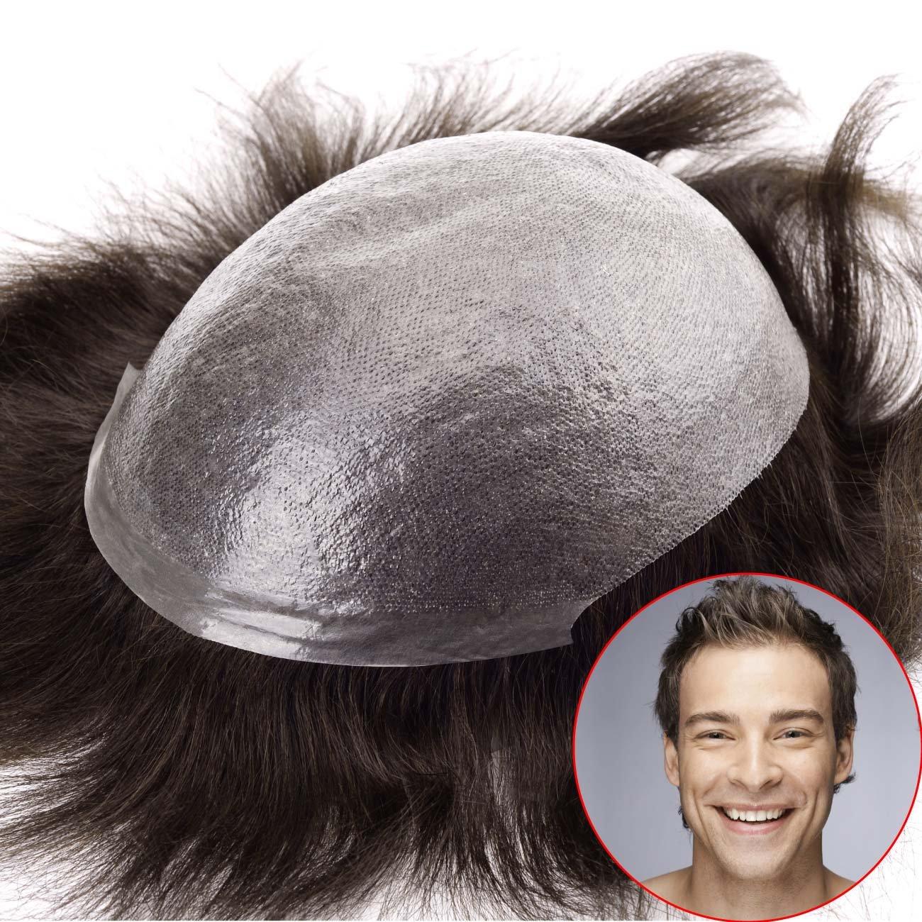 Lordhair Transparent Super Dünne Haut Menschliche Haarersatz Farbe # 1 Toupet Herren Männer Perücke Larcoo International (HK) Co. Limited