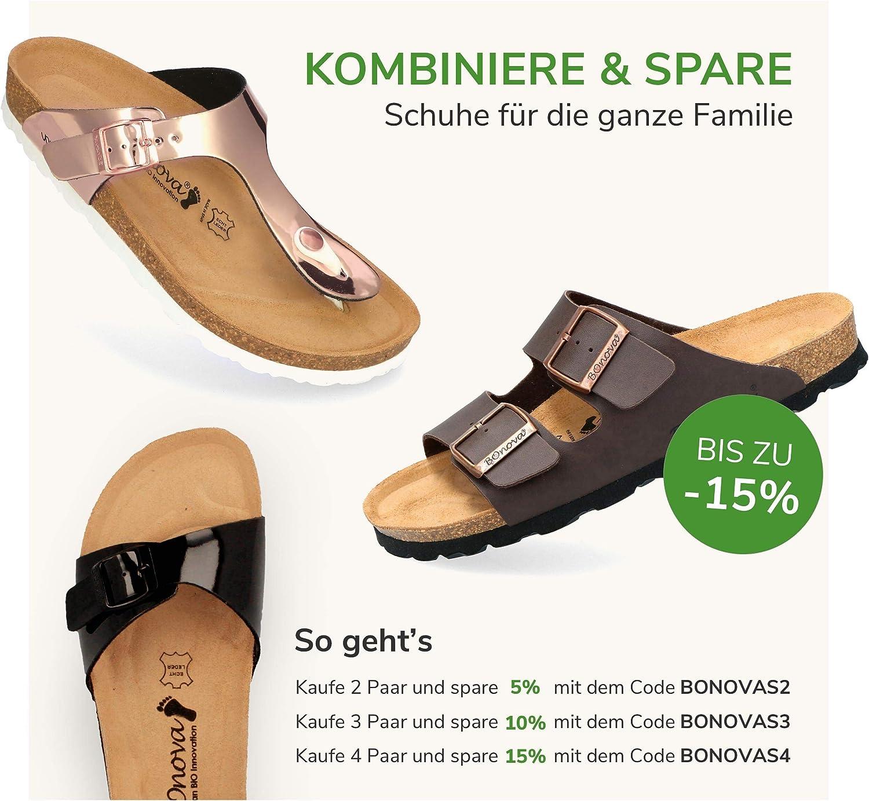 Sandalen zum Wohlf/ühlen hergestellt in der EU stylische Pantolette mit Kork-Fu/ßbett BOnova Damen Zehen-Trenner Ibiza aus hochwertigem Echtleder