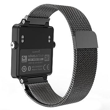 MoKo Correa de reloj para Garmin Vivoactive Acetate, Correa de repuesto de malla de acero