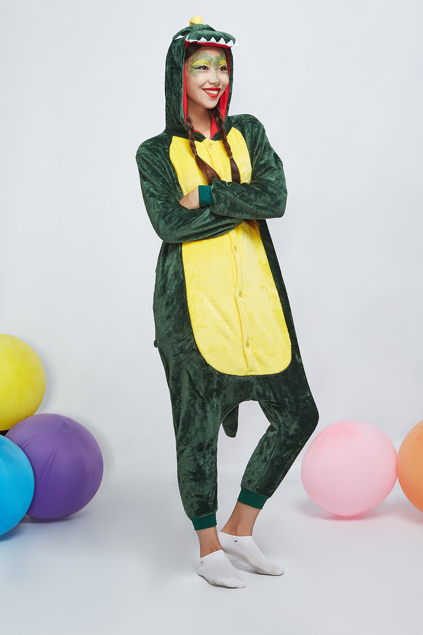 Adult Dragon Kigurumi Animal Onesie Pajamas Plush Onsie One Piece Cosplay Costume (Small, Green) by Nothing But Love (Image #5)