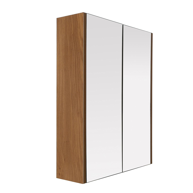 Premier Housewares 2403292 Armoire Murale avec 2 Portes Effet Chêne-Miroir