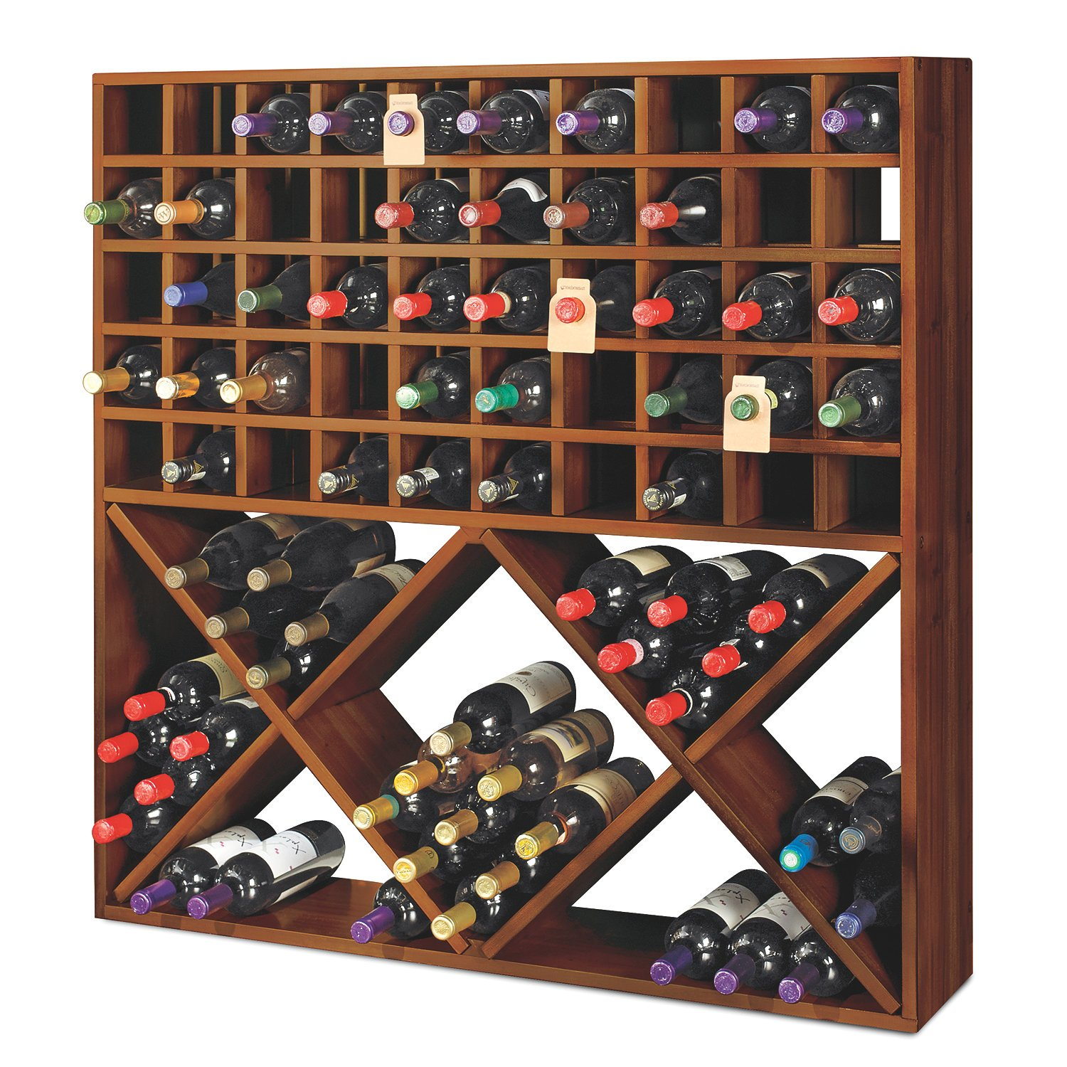 Jumbo Bin Grid 100 Bottle Wine Rack - Walnut by Wine Enthusiast