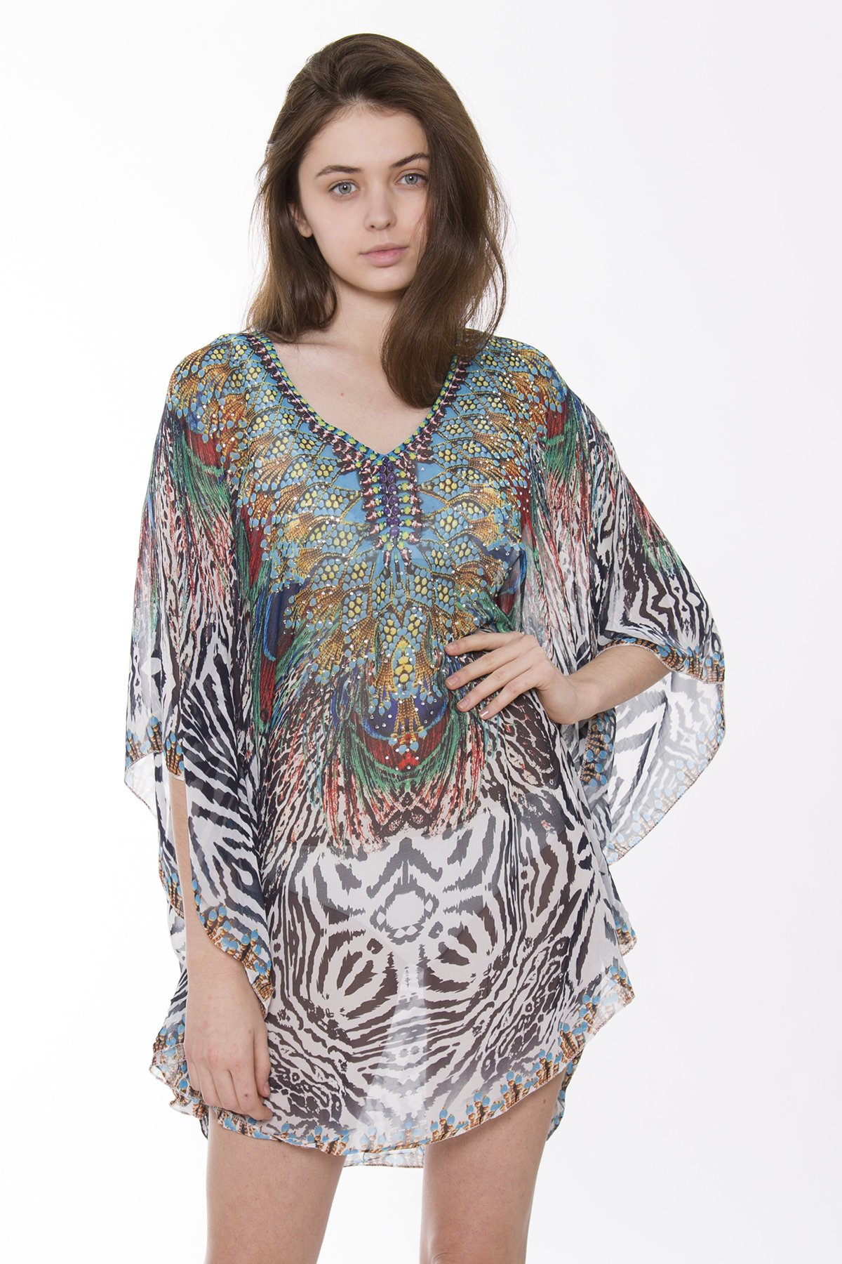 BYOS Womens Fashion Diva Soft Sheer Rhinestone Studded Poncho Tunic Beach Coverup Bold Color Animal Floral Print (Multi Peacock Tiger Print) by Be Your Own Style