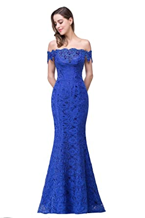 Babyonline Sparkly Crystal Off Shoulder Long Mermaid Lace Evening Party Dresses