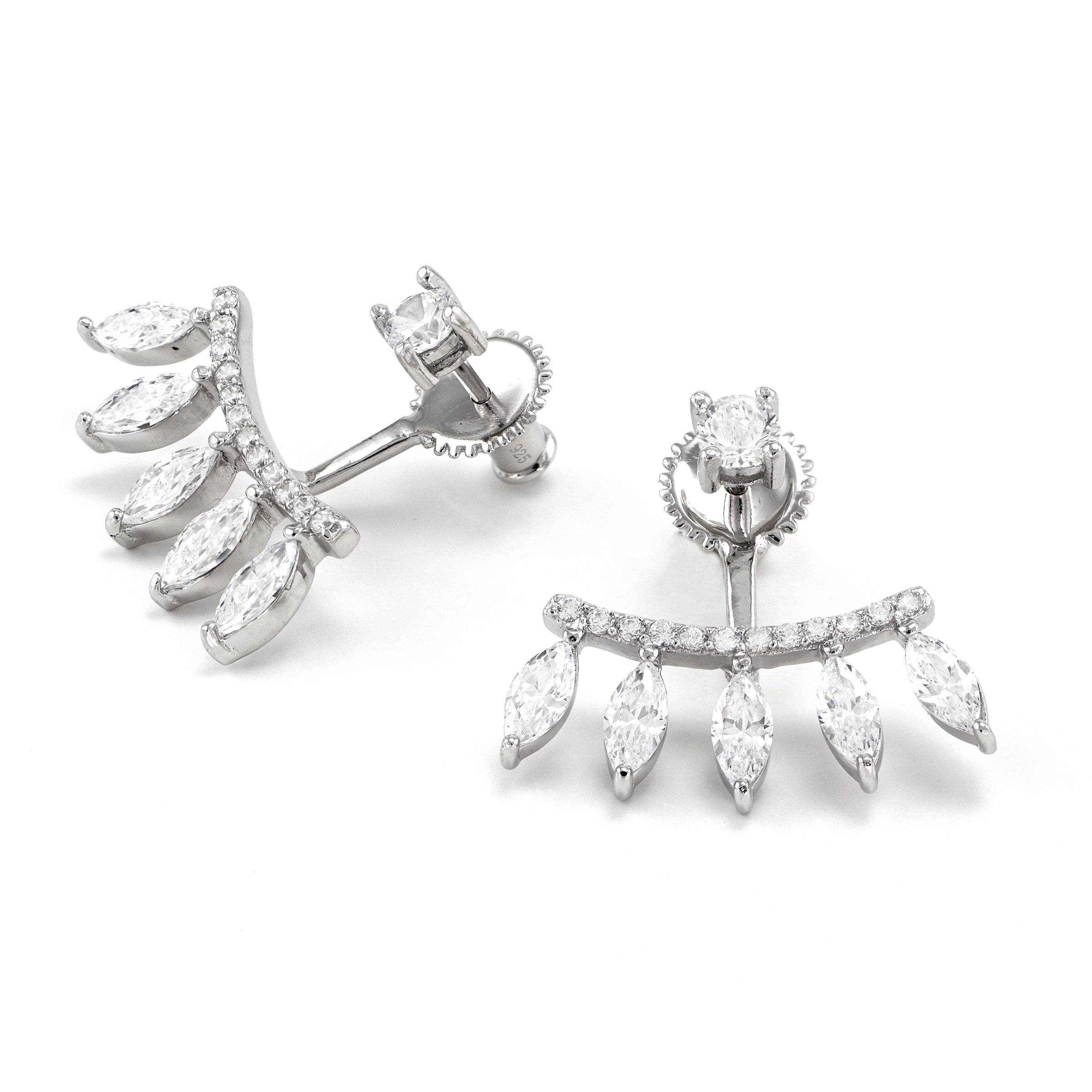 Platinum Plated 925 Sterling Silver Round Cubic Zirconia Curved Bar 5 Leaf Baguette Earring Jackets