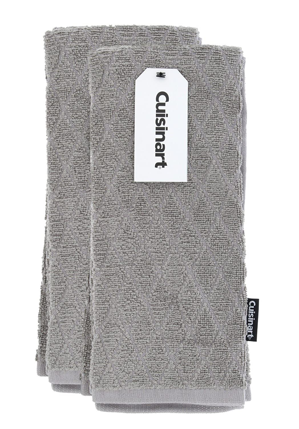 Cuisinart Bamboo Dish Towel Set-Kitchen and Hand Towels for Drying Dishes/Hands - Absorbent, Soft and Anti-Microbial-Premium Bamboo/Cotton Blend, 2 Pack, 16 x 26, Drizzle Grey, Diamond Design